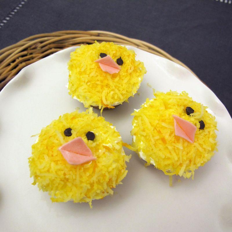 Baby chick cupcake design